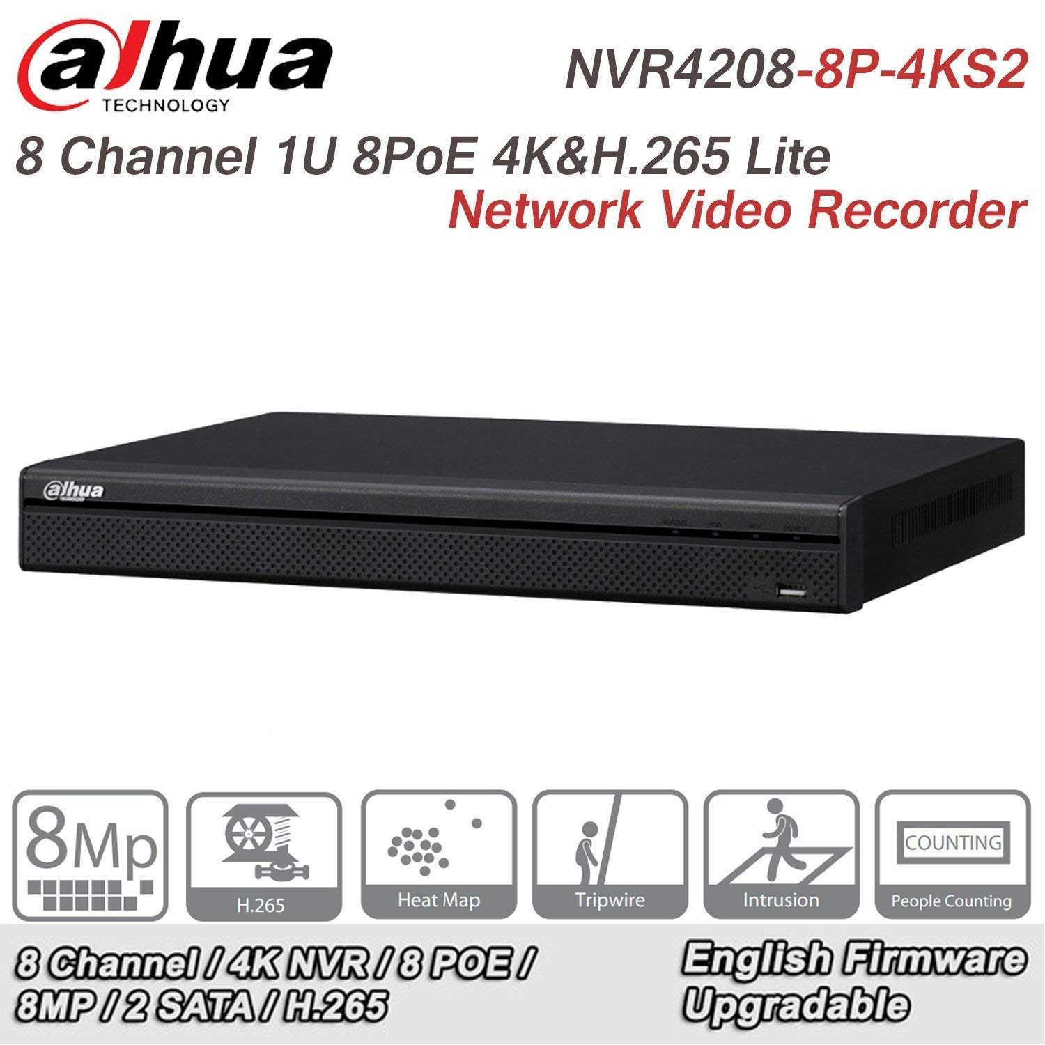 Dahua 8 Channel NVR DHI-NVR4208-8P-4KS2 1U 8PoE 4K H.265 Lite Network Video Recorder Original English Version by Hansen