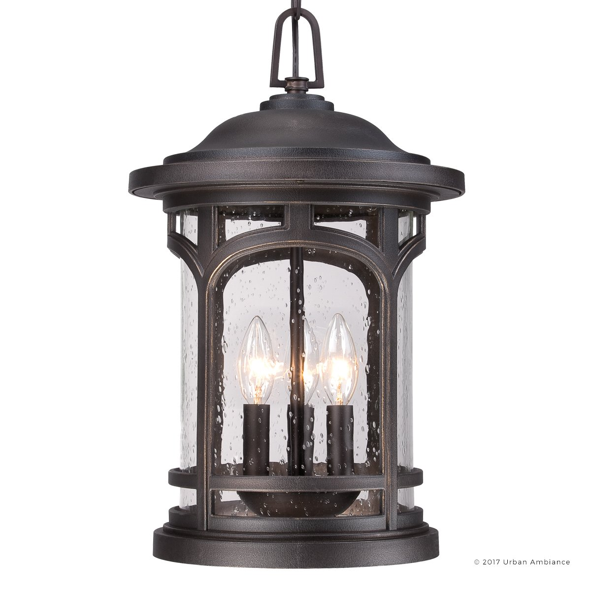 Luxury Rustic Outdoor Pendant Light, Large Size: 18''H x 11''W, with Colonial Style Elements, Wrought Iron Design, Oil Rubbed Parisian Bronze Finish and Seeded Glass, UQL1109 by Urban Ambiance