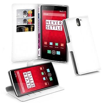 Cadorabo Carcasa para OnePlus One Móvil En Funda con Tarjetero y función Atril Case Cover Carcasa Funda Book Style Ártico Blanco