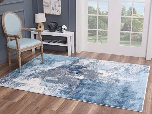 Luxe Weavers Nuvola Abstract Blue 9×12 Area Rug 8722