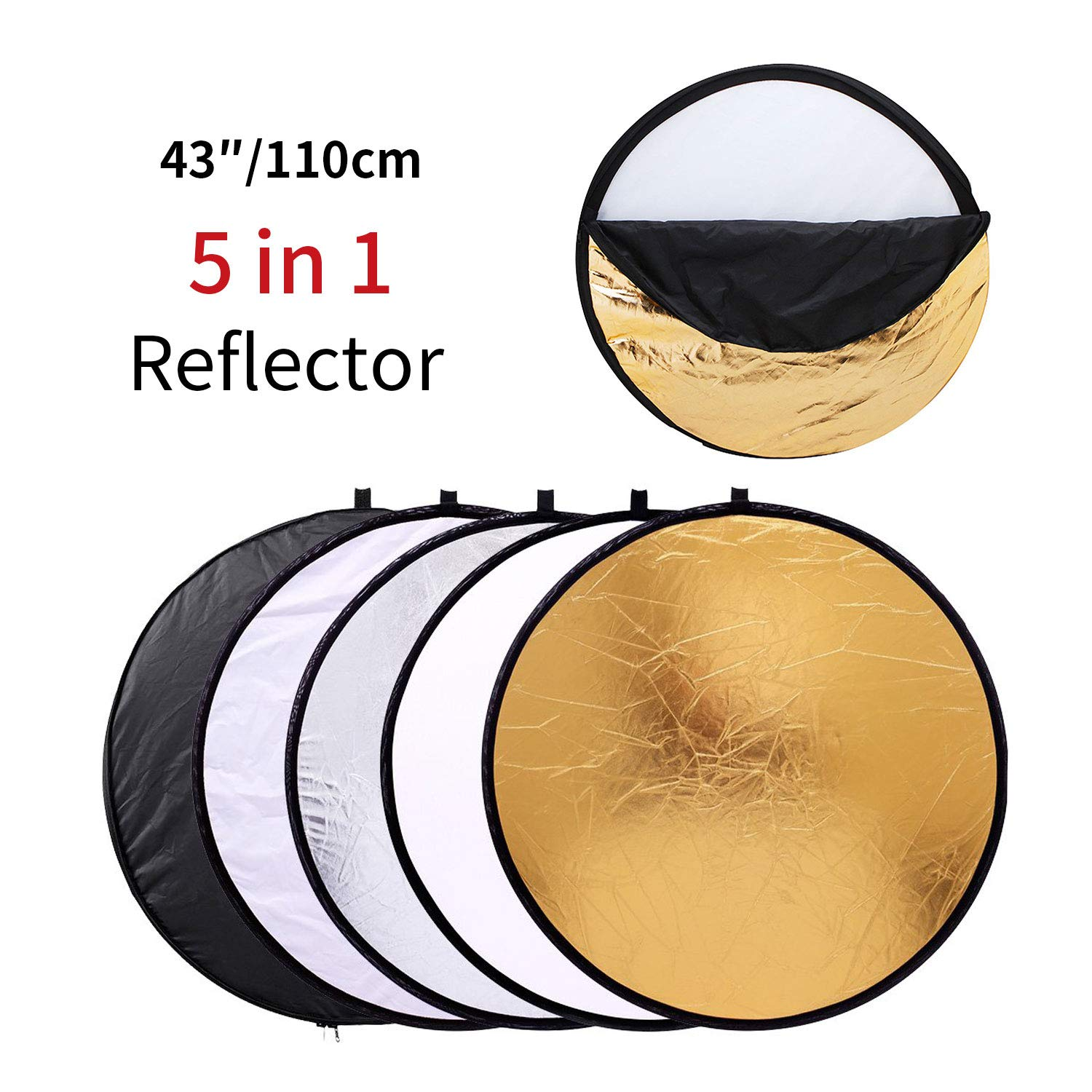 MOUNTDOG 43''/110cm Photography Reflector Photo Video Studio Multi Collapsible Disc 5-in-1 Lighting Reflector for Softbox Lighting Portable Collapsible Light Reflector by MOUNTDOG