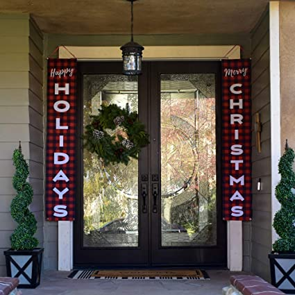 Apartment Christmas Decorations Indoor.Harperlynn Christmas Decorations For Outdoor Or Indoor Happy Holidays Merry Xmas Red Buffalo Plaid Banners Porch Signs For Home Apartment Door
