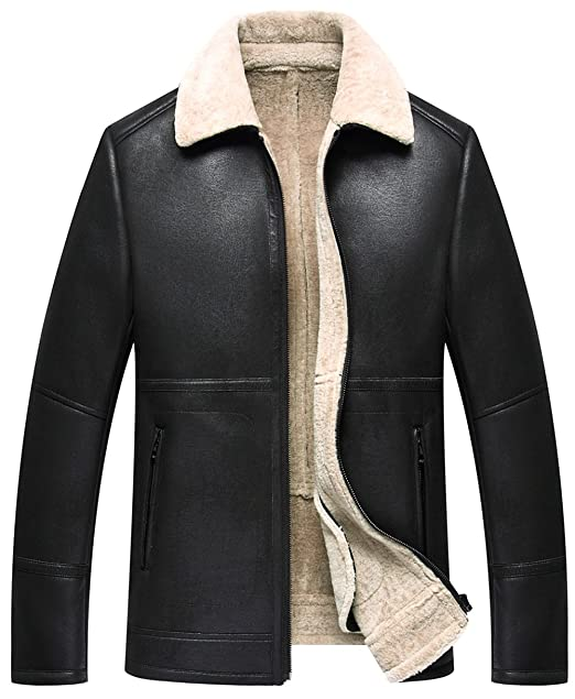 450e939f2 K3K Mens Winter Warm Fax Fur Leather Sheepskin Coat Jacket Parka Lamb Wool  Lined (1715