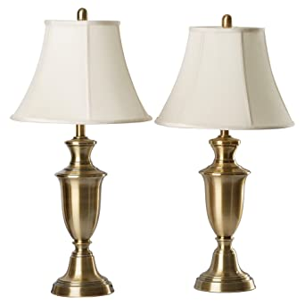 30.5u201d Antique Brass Metallic Table Lamp With Cream Fabric Bell Shade (2 Pack