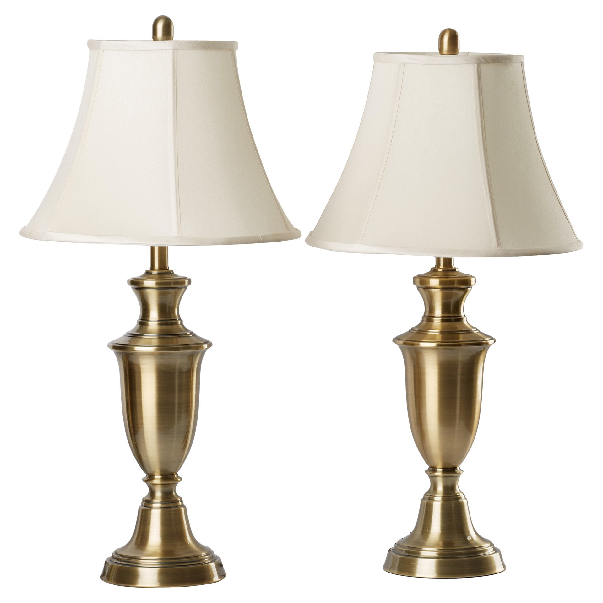 """30.5"""" Antique Brass Metallic Table Lamp with Cream Fabric Bell Shade (2-Pack)"""