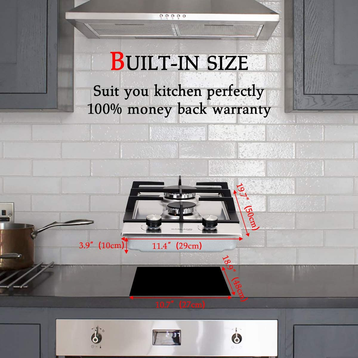 2 Burner Drop-in Propane//Natural Gas Cooker 12 Inch Stainless Steel Gas Stove Top GASLAND Chef 12 Built-in Gas Cooktops