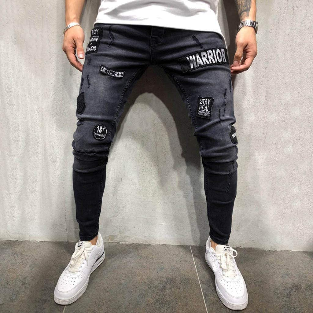 Mens Denim Jeans Fashion Slim Fit Casual Distressed Denim Slim Stretch Trousers Skinny Pants with with Pockets