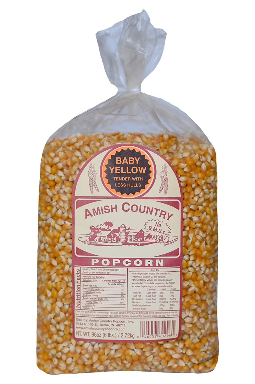 Amish Country Popcorn | 6 lb Bag | Baby Yellow Popcorn Kernels | Old Fashioned with Recipe Guide (Baby Yellow - 6 lb Bag)