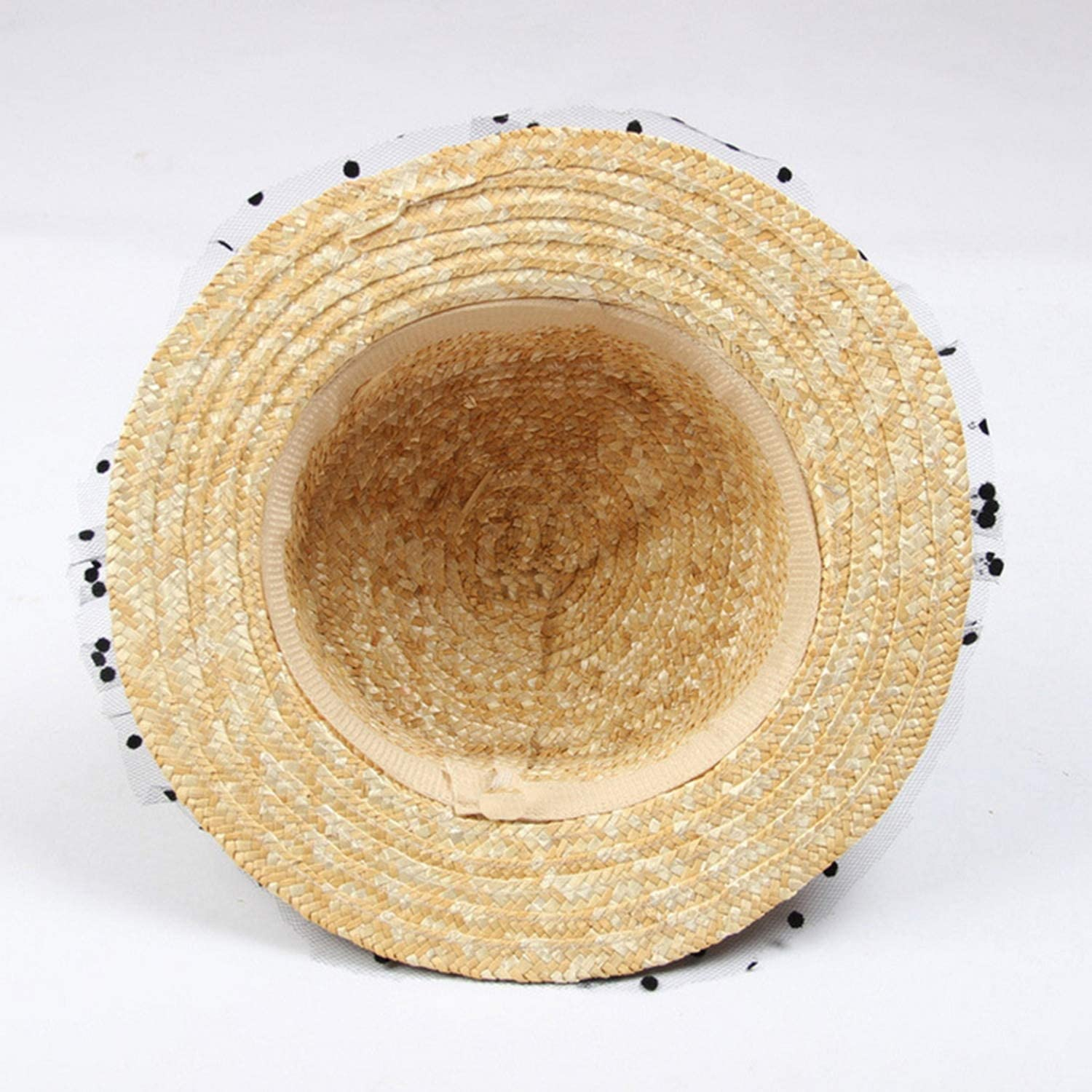 Lace Lady Sun caps Ribbon Bow Round Flat Top Straw Beach Hat Panama Hat Summer Hats for Women Straw Hats,White