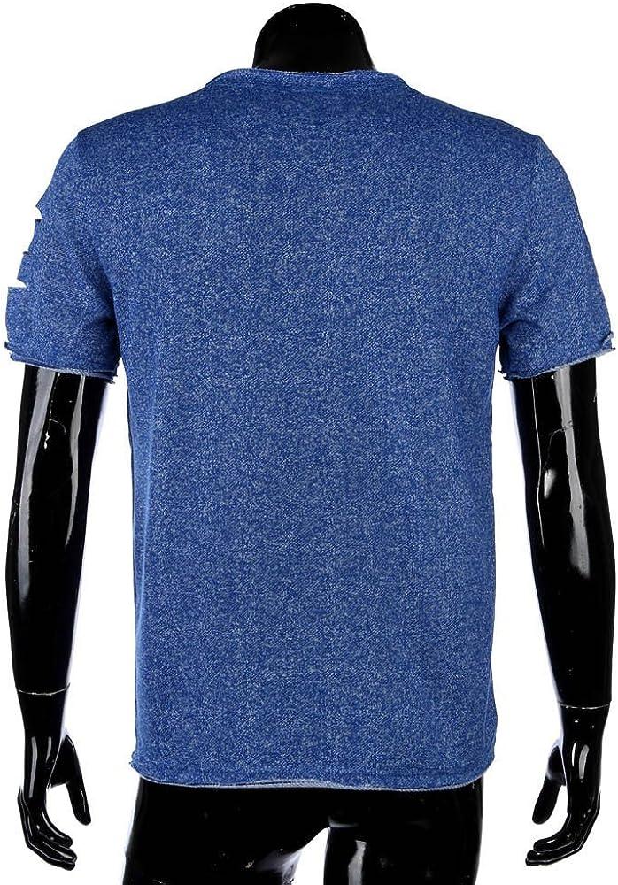 MODOQO Mens Casual O-Neck Short Sleeve Tee Tops Fashion Solid T-Shirt Blouse