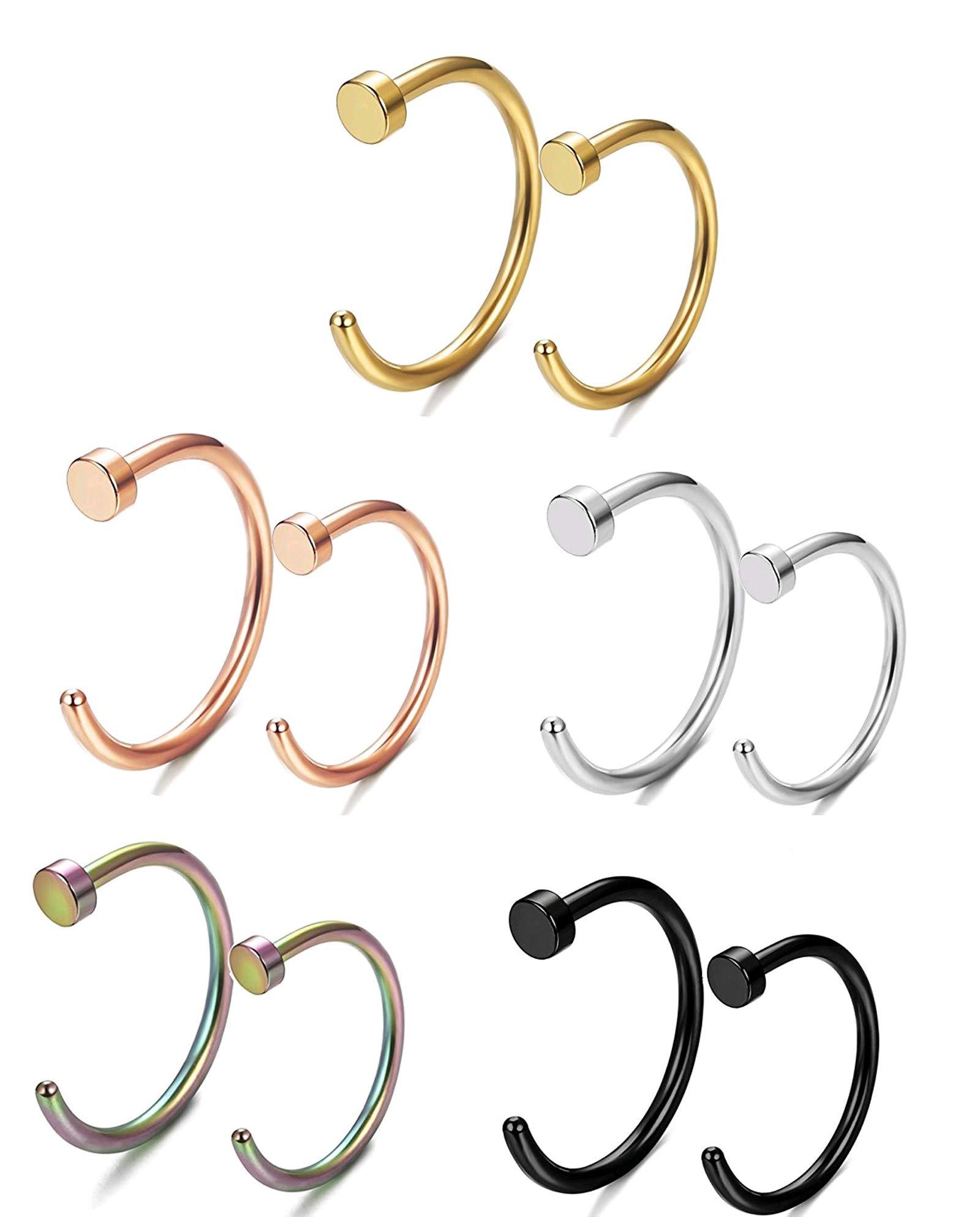 Fystir 18g Nose Rings For Women Men Small Nose Hoop Ring Rose Gold