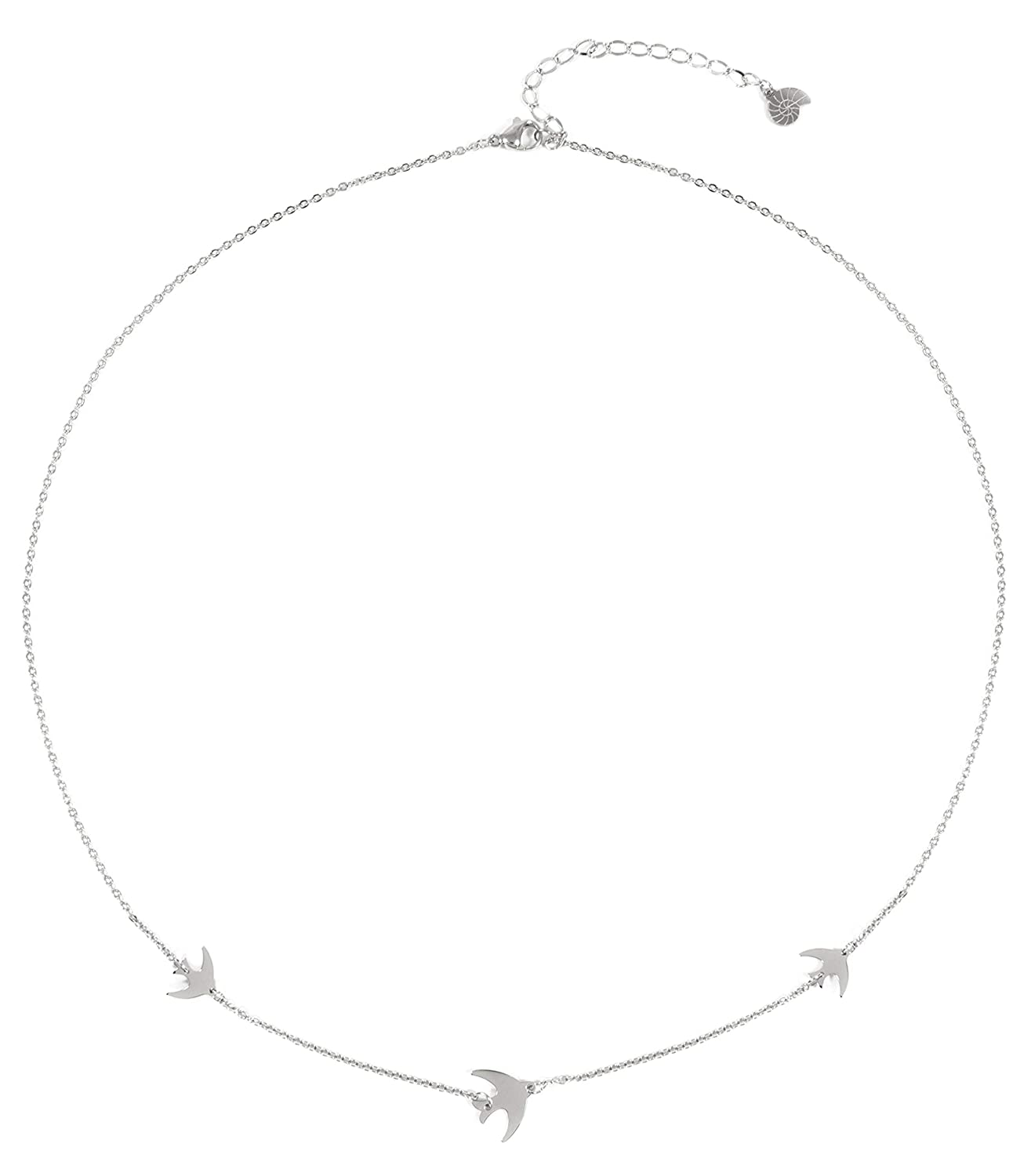 Happiness Boutique Flying Birds Necklace in Silver Color Delicate Necklace with Swallows Stainless Steel Jewelry