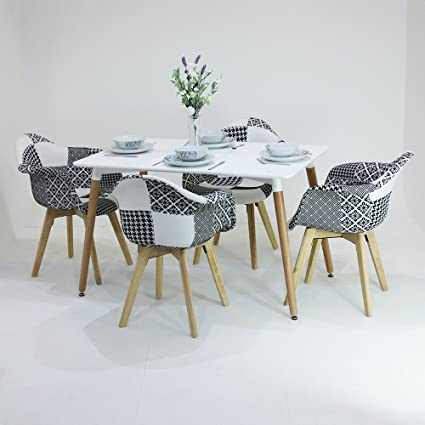 P N Homewares Fabia Ensemble De Table Et De Chaise En Patchwork