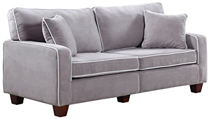 Divano Roma Furniture Collection   Modern Two Tone Velvet Fabric Living  Room Love Seat Sofa (