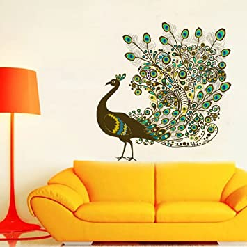 3615909f302 Buy Impression Wall Decor Peacock Wall Sticker Online at Low Prices in  India - Amazon.in