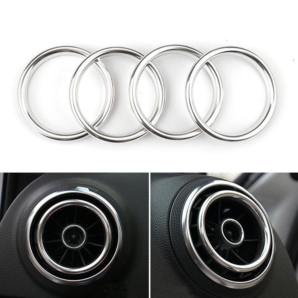 LITTOU 4 pcs Anneau dé coratif de climatisation automobile Alliage d'aluminium pour A3 , S3 (Argent)
