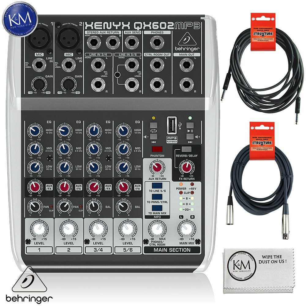 Behringer Xenyx QX602MP3 6-Input 2-Bus Analog Mixer w/ MP3 Player and Effects + 1 x 20ft Structure XLR Cable + 1 x 18.6 ft Strukture Instrument Cable + K&M Micro Fiber Cloth Bundle