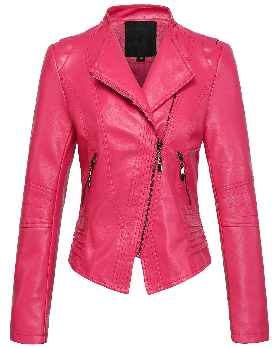 chouyatou Women's Casual Collarless Cropped Pu Leather Biker Jacket (Large, Rose) by chouyatou