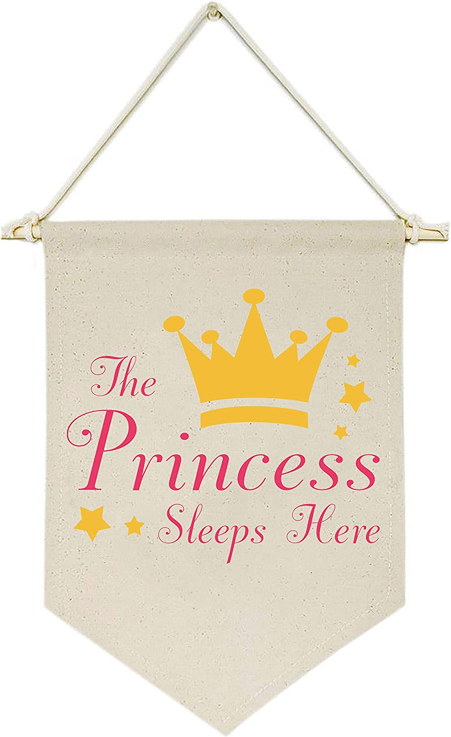 Topthink The Princess Sleeps Here - Canvas Hanging Flag Banner Wall Sign Decor Gift for Baby Kids Girl Nursery Teen Room Front Door - Crown,Stars