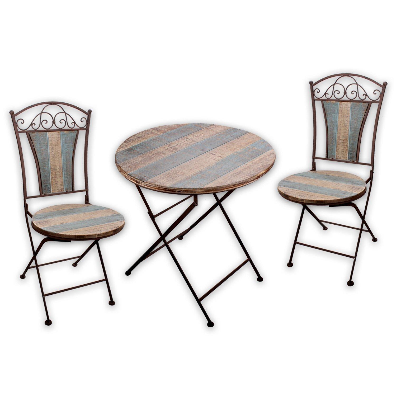 Gartenmöbel SET - 1x Tisch 2x Stuhl Nostalgica I in Rostoptik für ...