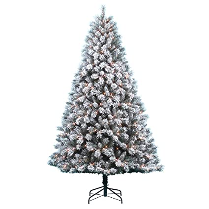 Pre-Lit Donner & Blitzen 7.5 Snow Country Flocked Pine Tree with 600 Clear  Lights - Amazon.com: Pre-Lit Donner & Blitzen 7.5 Snow Country Flocked Pine