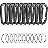 """10PCS 3""""/8CM Aluminum Carabiner Clips,Premium Durable D-Ring Caribeaner with Keyring for Home RV Camping Fishing Hiking Traveling Backpack and Keychain"""