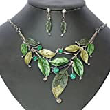 S&E Exaggerate Vintage Leaf Shape Crystal Chain Collar Pendant Necklace Earring Jewelry Sets