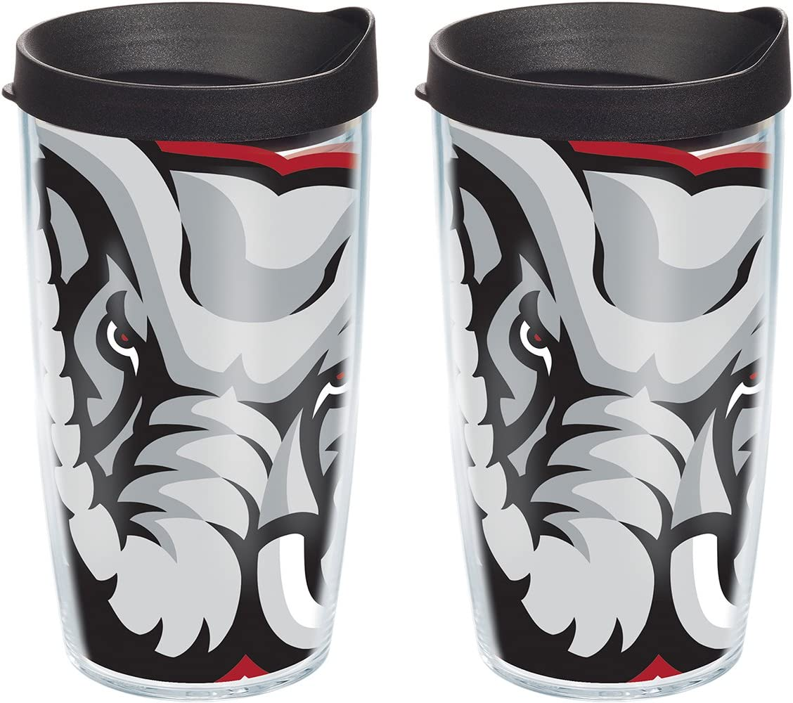 Clear Tervis 1084698 Alabama Crimson Tide Mascot Colossal Tumbler with Wrap and Black Lid 2 Pack 16oz