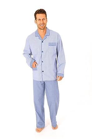 free shipping 98a66 bbe31 Herren Pyjama lang gewebt zum knöpfen - Schlafanzug kariert 55671