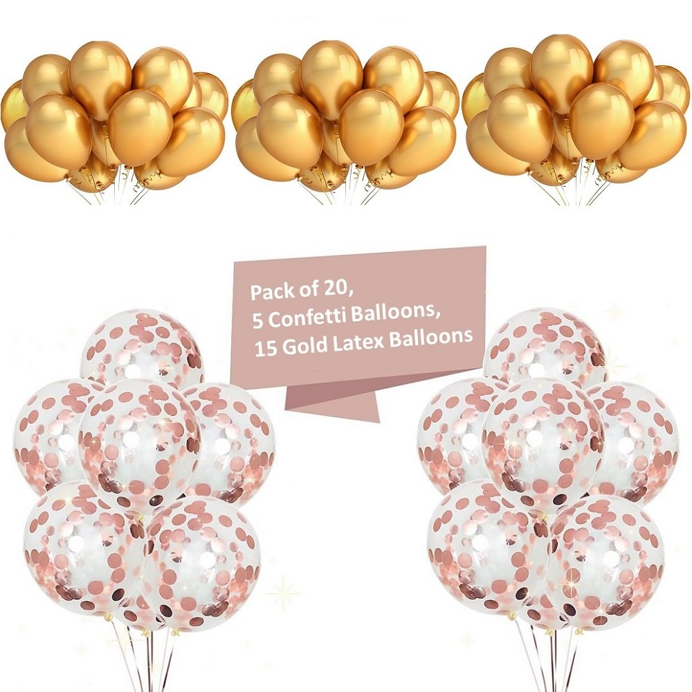 ShineU 36pcs Party Balloons Include 13pcs Happy Birthday Letters Foil Balloons, 3pcs Mylar Star Balloons, 5pcs Confetti Filled Balloons, 15pcs Latex Balloons, Perfect Decoration for Parties Birthday