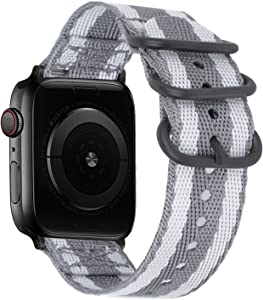 YOUKEX Soft Nylon Band Compatible with Apple Watch Band 38MM 40MM, Lightweight Breathable Sport Wrist Strap with Metal Buckle Compatible with iwatch Series 6/5/4/3/2/2 SE (38mm/40mm,Striped Grey)