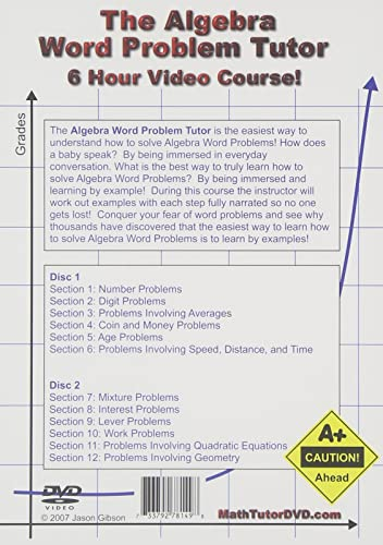 Amazon.com: The Algebra Word Problem Tutor - 2 DVD Set - 6 Hour ...