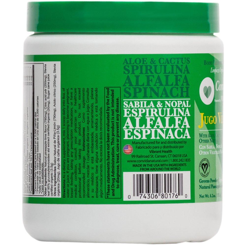 Amazon.com: Vibrant Health - Jugo Verde Greens Powder, Aloe, Cactus, and Vegetables, 15 Servings: Health & Personal Care