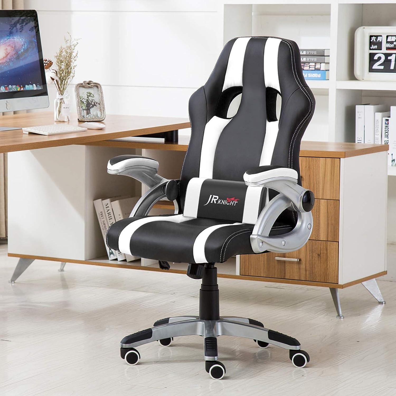 sedia sportiva da gioco stile pilota JR Knight con schienale alto in similpelle girevole con braccioli regolabili adatta a tutte le scrivanie