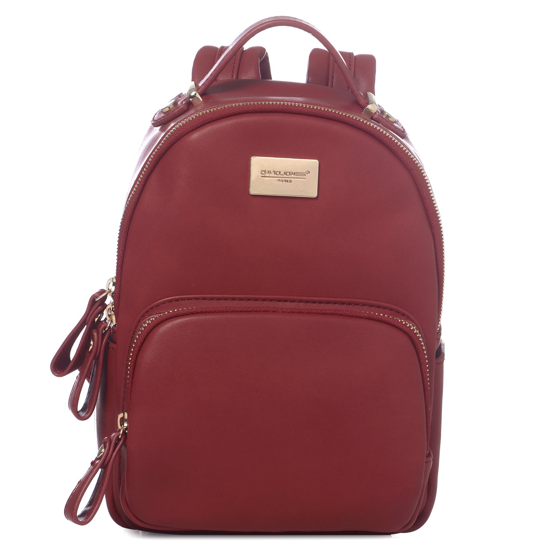 DAVIDJONES Women's Faux Leather Mini Small Shoulder Travel Bag Backpack Purse CM3075-BLACK