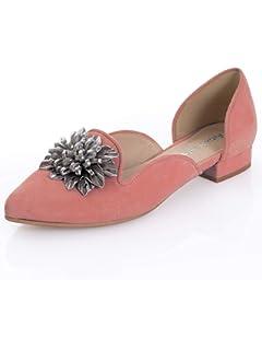 d37584dfceb1 Alba Moda Damen Ballerina mit Lederapplikation in Blütenform  Amazon ...