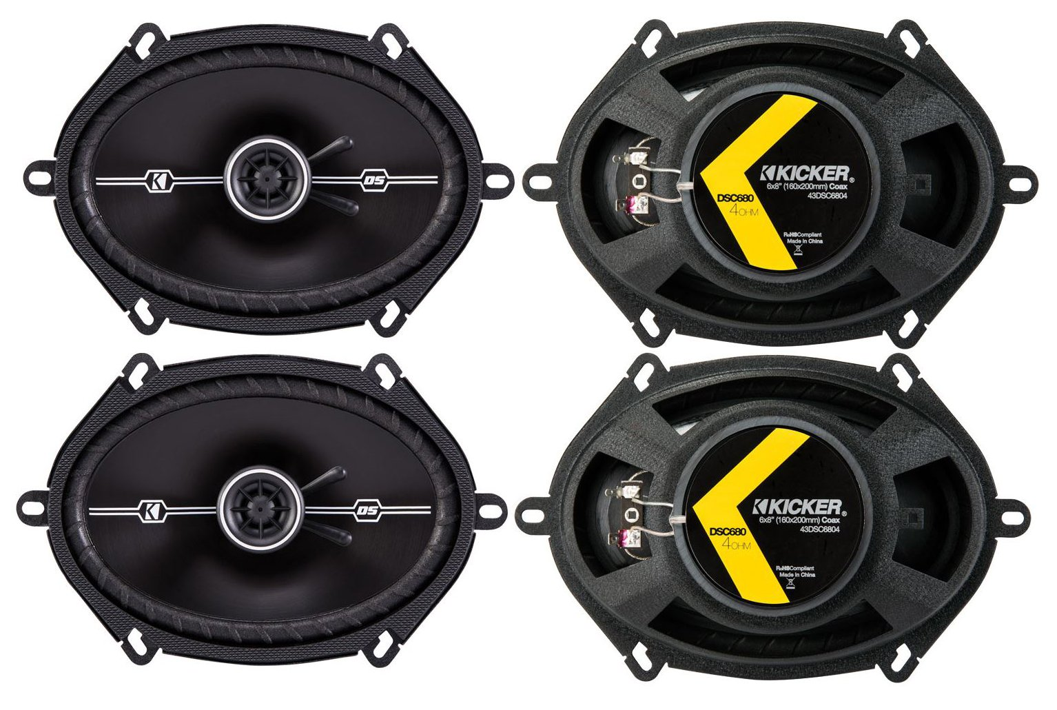 4) Kicker 43DSC6804 D-Series 6x8'' 200 Watt 2-Way 4-Ohm Car Coaxial Speakers Four