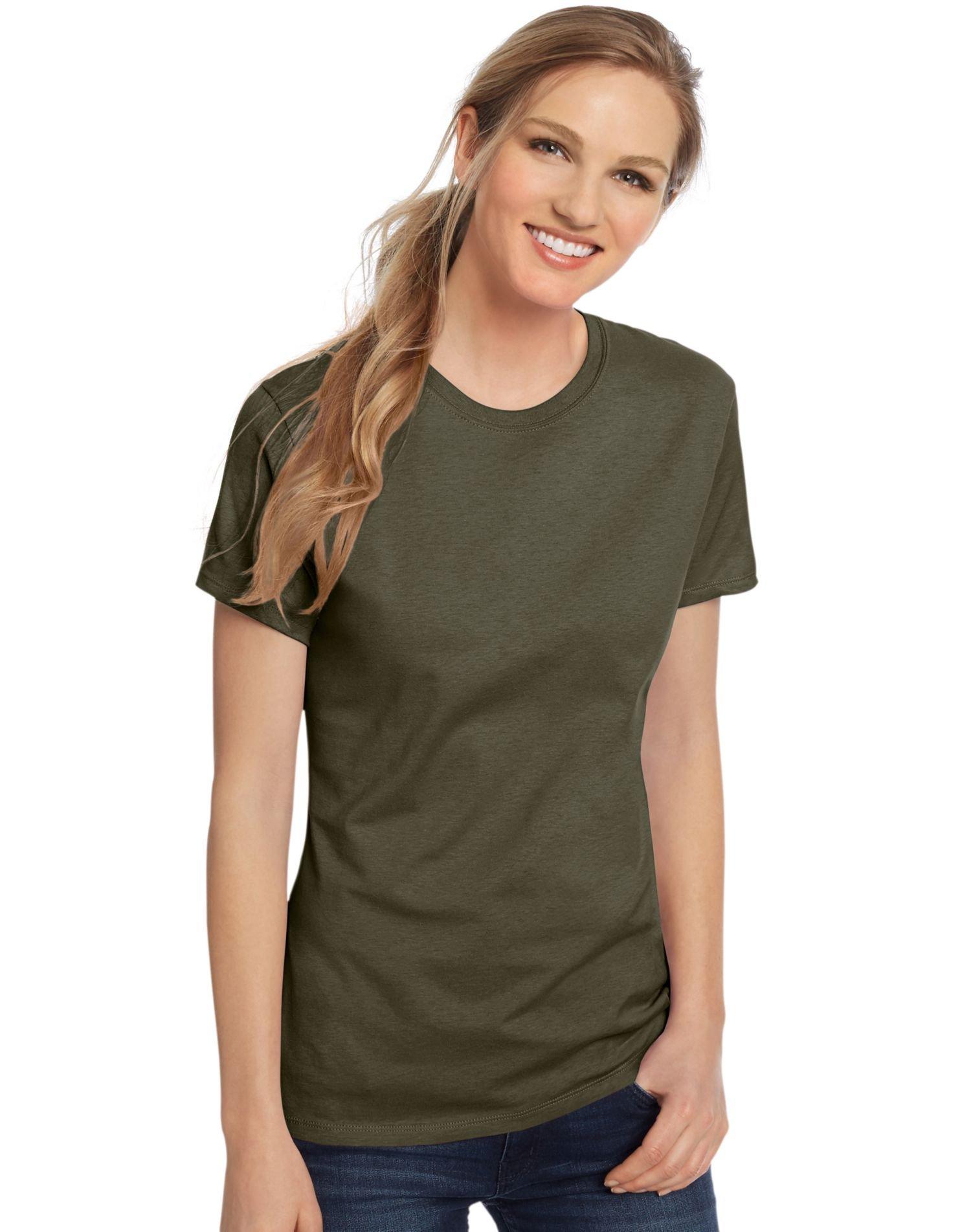 Hanes Womens 100% Ringspun Cotton Nano-T T-Shirt (SL04) -Fatigue GR -M