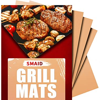 Smaid - Copper Grill Mat Set of 4 - Non-Stick BBQ Grill Mats - FDA-Approved, Reusable and Easy To Clean - Works on Gas , Charcoal , Electric Grill and More - 15.75 x 13 Inch