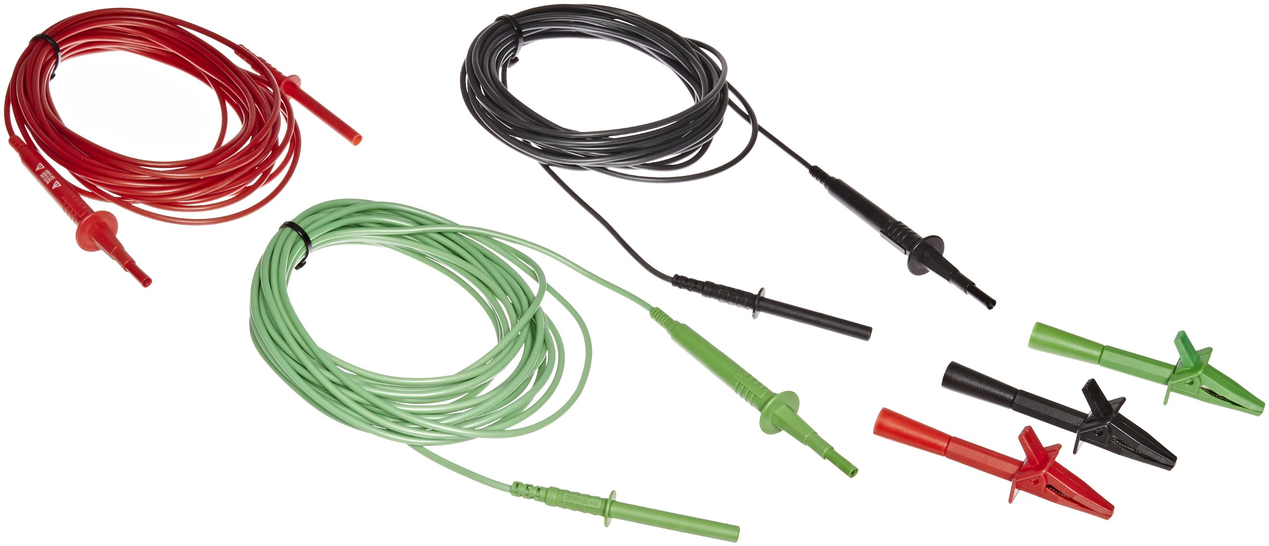 Fluke TL1550EXT 3 Piece Extended Test Lead Set with Alligator Clips, 5000V DC Voltage, 20A Current, 300'' Cable Length