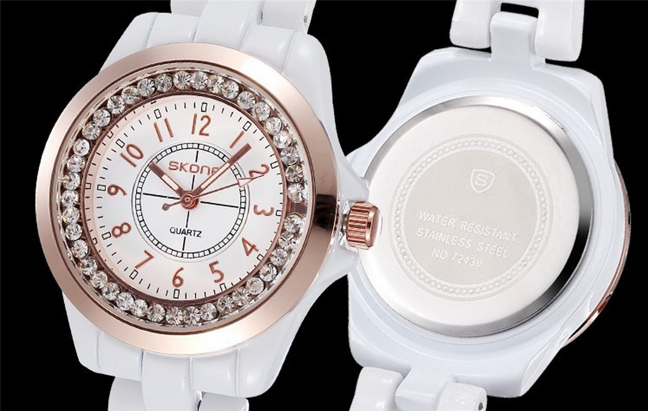 WUTONYU(TM) Women's White Ceramic Band Wrist Watch Luminous Rhinestones Quartz Watches(Silver) by WUTONYU (Image #6)