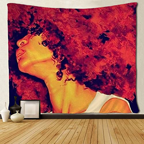 SARA NELL Black Art Wall Tapestry Hippie Art African American Women Red Hair Art Tapestries Wall Hanging Throw Tablecloth 60X90 Inches for Bedroom Living Room Dorm Room