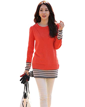 2fbf9da602ea BIUBIU Women s Casual Long Sleeve Cashmere Wool Knitted Sweater Pullover  Jumper Orange Red UK 14