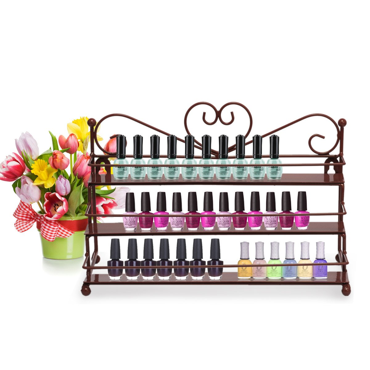 Dazone Mounted 3 Tier Metal Shelf Nail Polish Wall Rack Essential Oils Perfume Organizer by DAZONE (Image #7)
