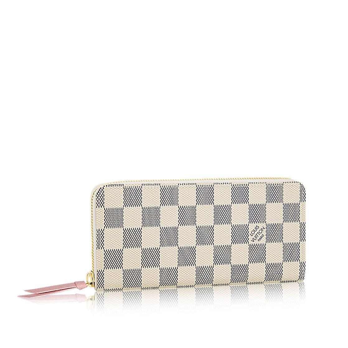b35c082d66e Amazon.com: Louis Vuitton Damier Azur Canvas Rose Ballerine Clemence Wallet  N61264: Shoes