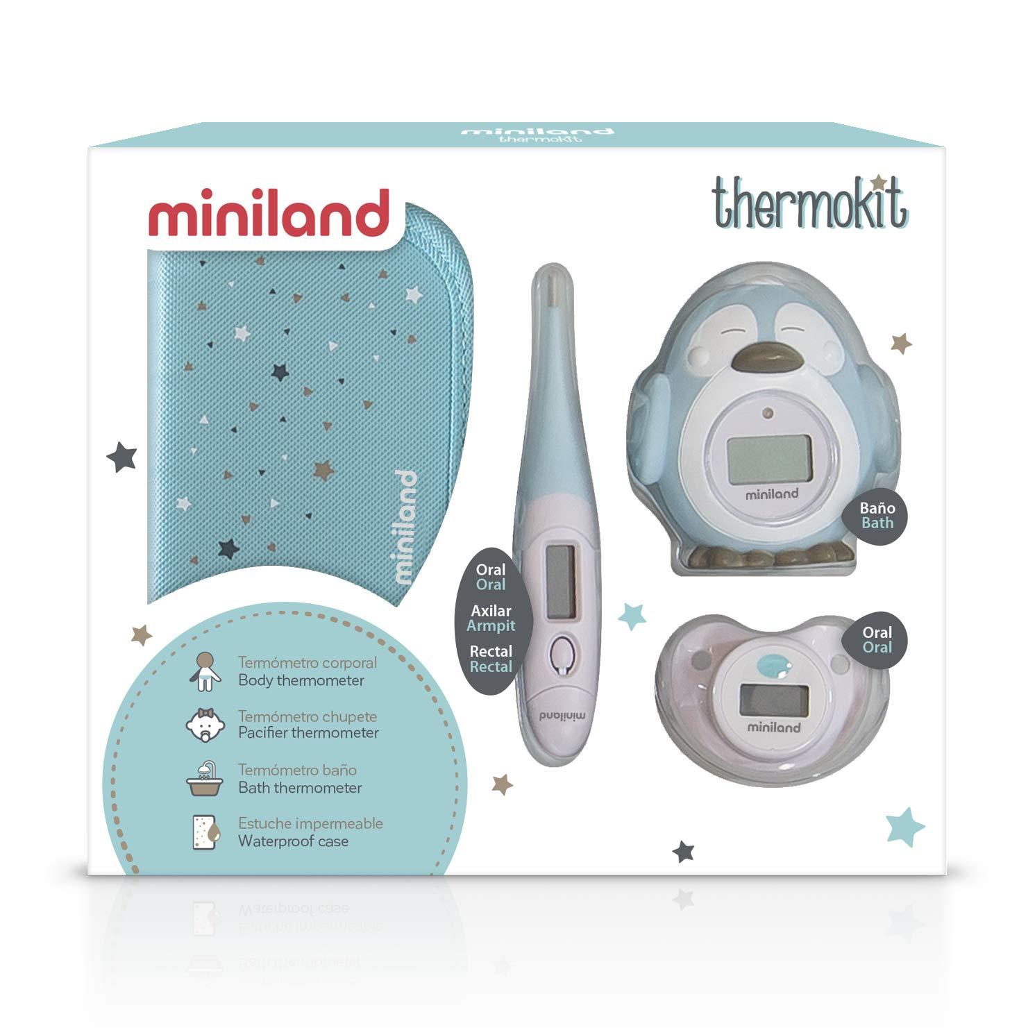 Miniland Thermokit - Set de 3 termómetros digitales, color azul: Amazon.es: Bebé