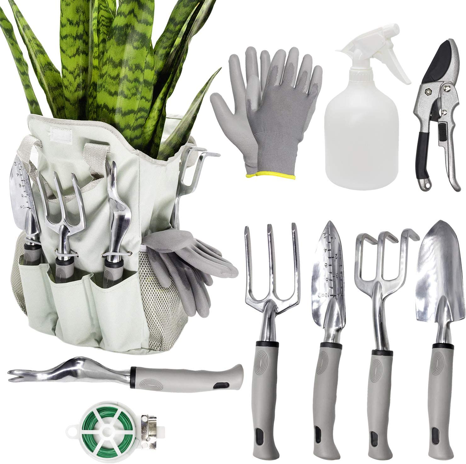FALIDI Garden Tools Set 8 Piece Gardening Tools Kit,Garden Gloves and Garden Handbag,Hand Digging Weeder Rake Shovel Trowel,Gardening Gifts for Woman-Gray