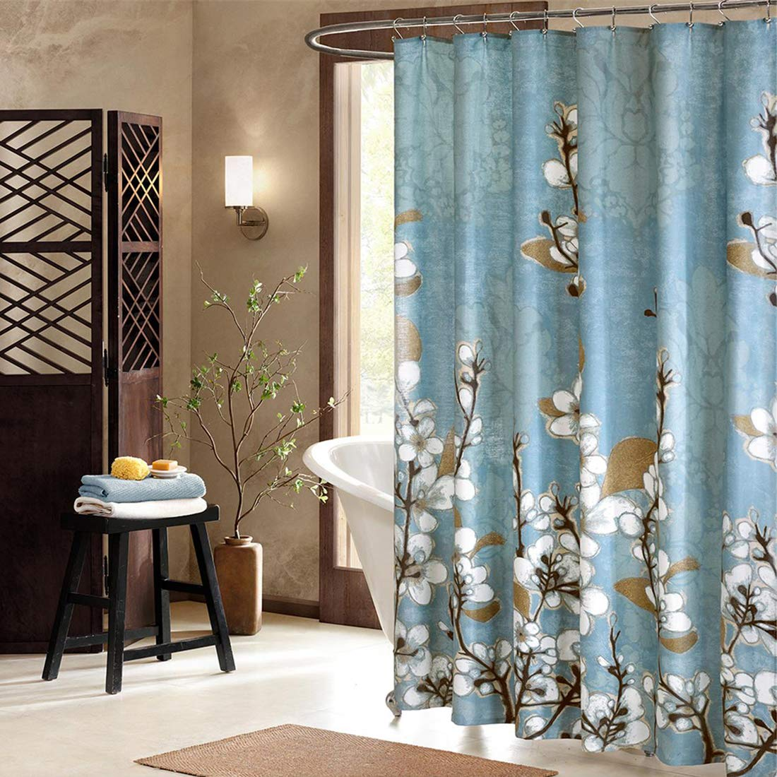 DS BATH Hanakotoba Blue Shower Curtain,Flower Polyester Fabric Shower Curtain,Plants Shower Curtains for Bathroom,Floral Bathroom Curtains,Print Waterproof Shower Curtain,94'' W x 78'' H