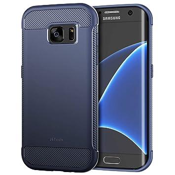 JETech Funda para Samsung Galaxy S7 Edge, Carcasa con Fibra de Carbono, Anti-Choques, Azul