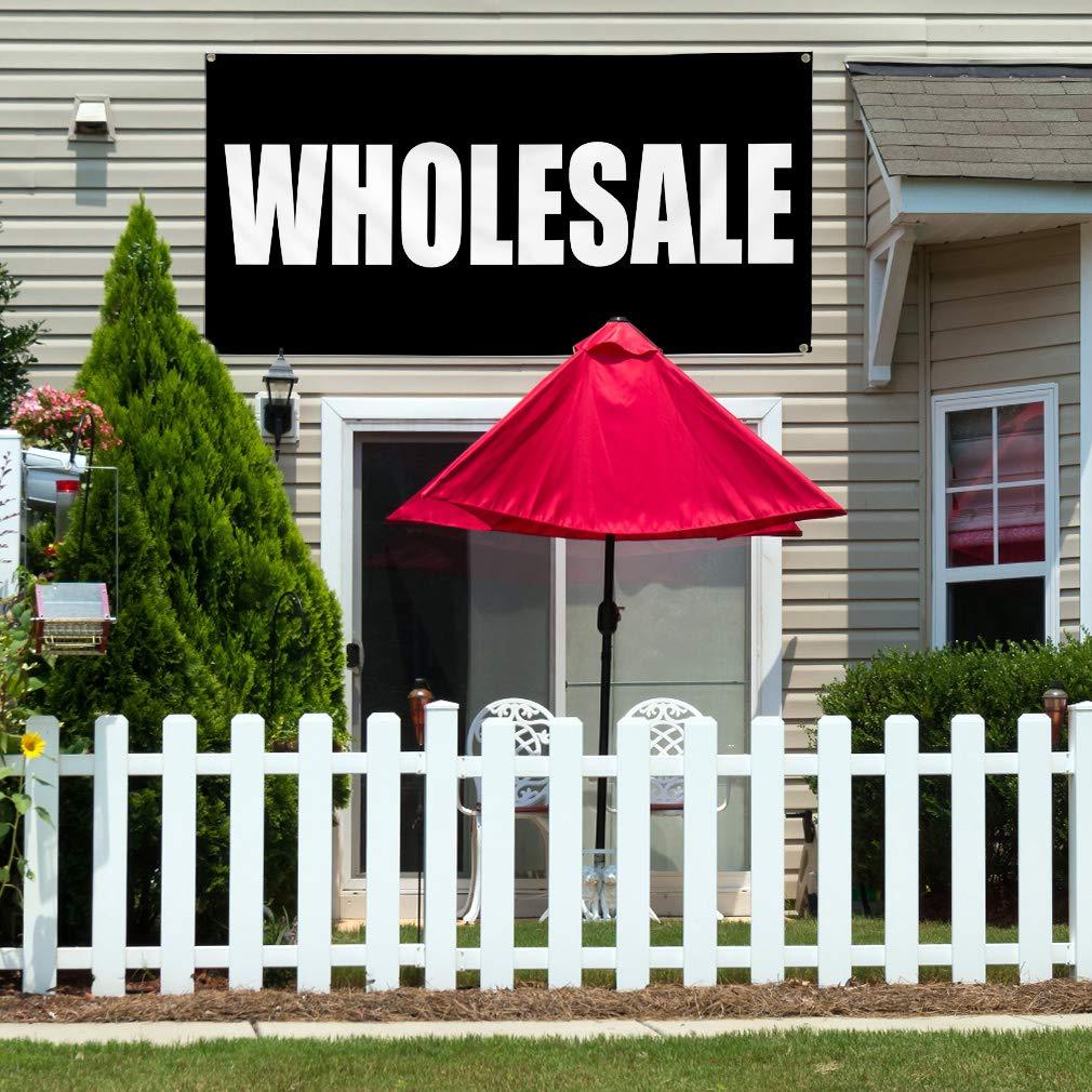 Vinyl Banner Sign Wholesale Black White Business Wholesale Marketing Advertising Black 24inx60in Set of 3 Multiple Sizes Available 4 Grommets
